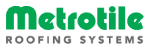A logo with the words Metrotile Roofing Systems written on it