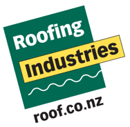 A logo with the words Roofing Industries on it and the website address roof dot co dot nz on it